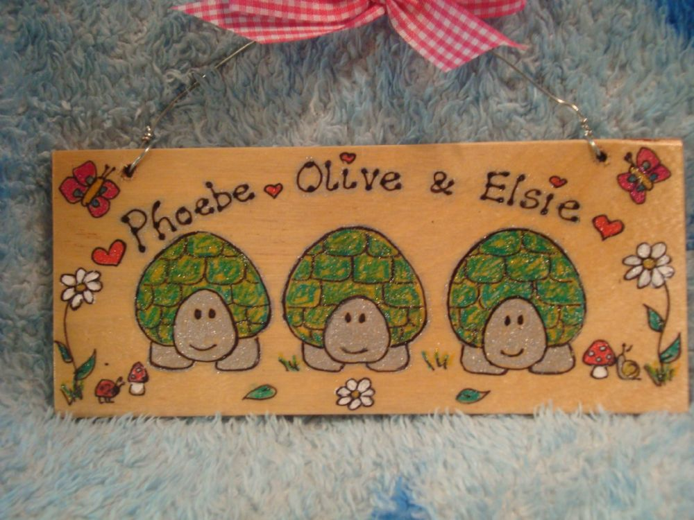 3 character TORTOISE WOODEN ROOM TABLE VIVARIUM PERSONALISED SIGN PLAQUE HANDMADE Garden Playhouse House